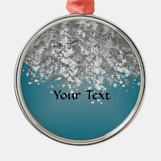 Teal blue and faux glitter christmas ornament