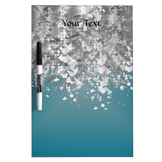 Teal blue and faux glitter dry erase board