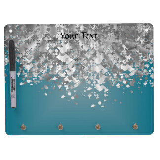 Teal blue and faux glitter dry erase board with key ring holder