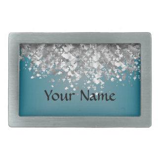 Teal blue and faux glitter rectangular belt buckles