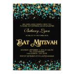 Teal Blue and Gold Bat Mitzvah 13 Cm X 18 Cm Invitation Card