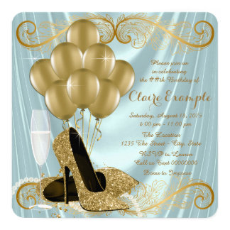 Teal Blue and Gold Birthday Party Glamour Satin Card