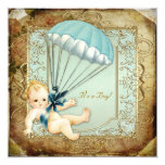 Teal Blue and Gold Boys Vintage Baby Shower