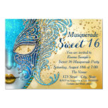 Teal Blue and Gold Sweet 16 Masquerade Party Personalized Announcement