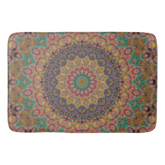 Teal, Blue, and Gold Tapestry Mandala Bath Mat