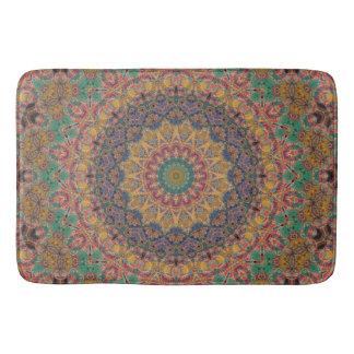 Teal, Blue, and Gold Tapestry Mandala Bath Mats