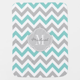 Teal Blue and Gray Chevron with Monogram Receiving Blanket