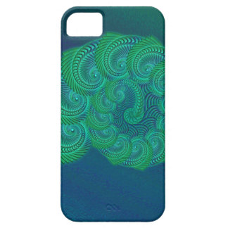 Teal, blue and green shell graphic. iPhone 5 cover