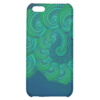 Teal blue and green shell graphic iPhone 5C cases