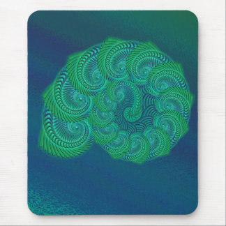 Teal, blue and green shell graphic. mouse pad