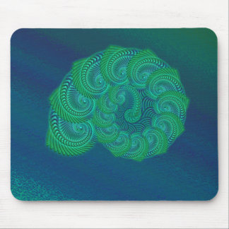 Teal blue and green shell graphic mouse pads