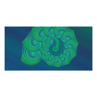 Teal blue and green shell graphic photo card