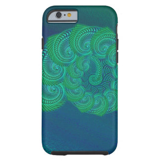 Teal, blue and green shell graphic. tough iPhone 6 case