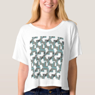 Teal Blue and grey abstract pattern T-Shirt