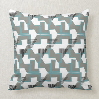 Teal blue and grey geometric abstract cushion