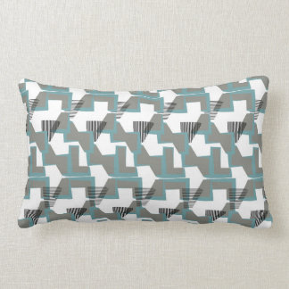 Teal blue and grey geometric abstract lumbar cushion