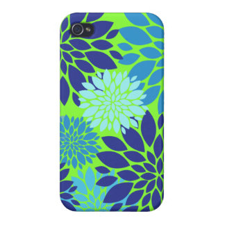 Teal Blue and Lime Green Flower Art Floral Print iPhone 4 Covers