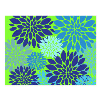 Teal Blue and Lime Green Flower Art Floral Print Postcard