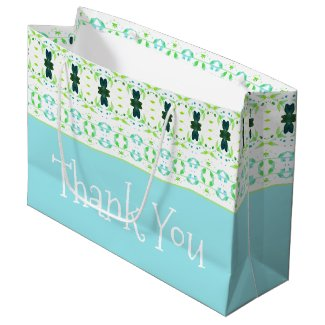 Teal Blue and Lime Thank You Tote Style Large Gift Bag