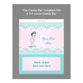 Teal Blue and Pink Baby Shower Candy Bar Wrapper 21.5 Cm X 28 Cm Flyer