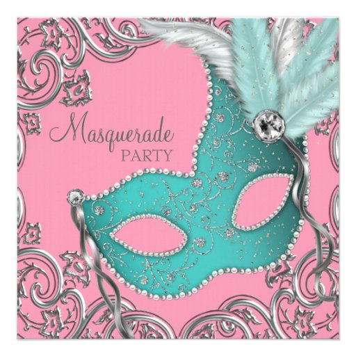 Teal Blue and Pink Masquerade Party Personalized Invitations