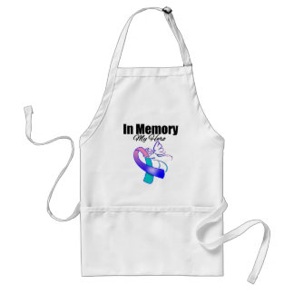 Teal, Blue and Pink Ribbon In Memory of My Hero Standard Apron