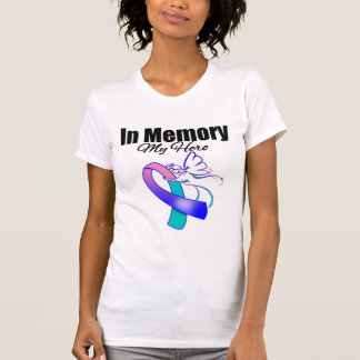 Teal, Blue and Pink Ribbon In Memory of My Hero Shirt