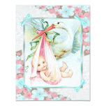 Teal Blue and Pink Stork Baby Shower Personalized Announcements