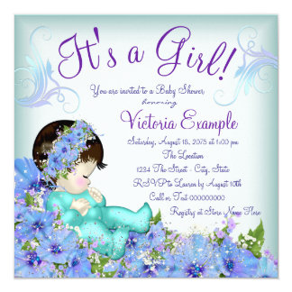 Teal Blue and Purple Baby Shower 13 Cm X 13 Cm Square Invitation Card