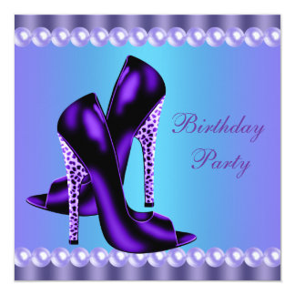 Teal Blue and Purple Birthday Party 13 Cm X 13 Cm Square Invitation Card