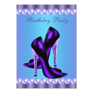 Teal Blue and Purple Birthday Party 13 Cm X 18 Cm Invitation Card