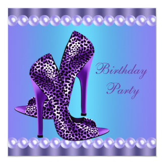 Teal Blue and Purple Birthday Party Announcement
