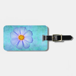 Teal Blue and Purple Daisy on Aqua Watercolor Luggage Tag