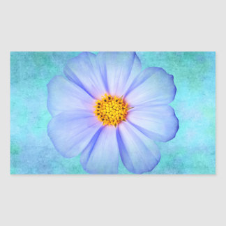 Teal Blue and Purple Daisy on Aqua Watercolor Rectangular Sticker