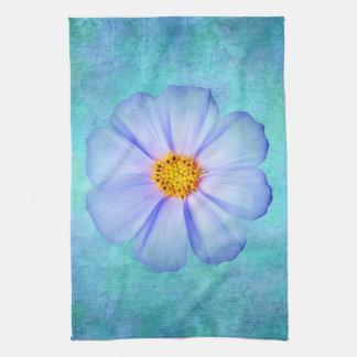 Teal Blue and Purple Daisy on Aqua Watercolor Tea Towel