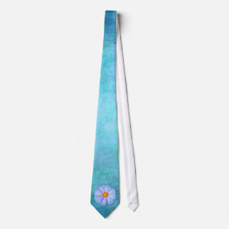 Teal Blue and Purple Daisy on Aqua Watercolor Tie