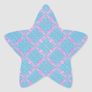 Teal Blue and Purple Damask Pattern Star Sticker