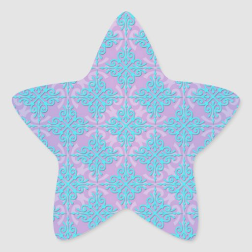 Teal Blue and Purple Damask Pattern Star Stickers