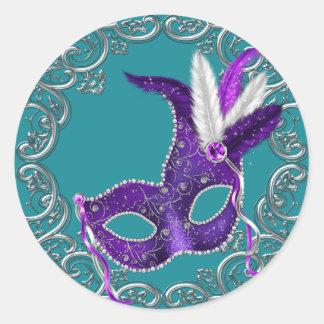 Teal Blue and Purple Masquerade Round Sticker