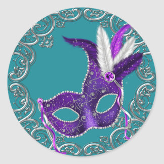 Teal Blue and Purple Masquerade Sticker