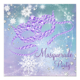 Teal Blue and Purple Snowflake Masquerade Party 5.25x5.25 Square Paper Invitation Card