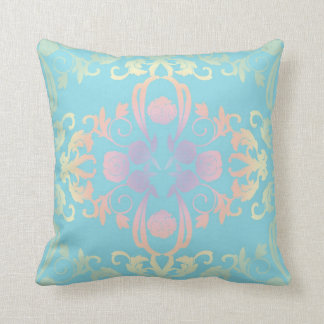 Teal Blue and Rainbow Floral Modern Vintage Pillow