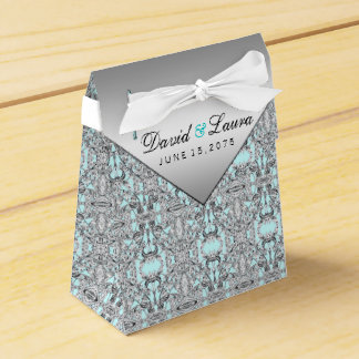 Teal Blue and Silver Wedding Favour Boxes