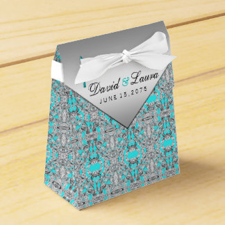 Teal Blue and Silver Wedding Wedding Favour Box