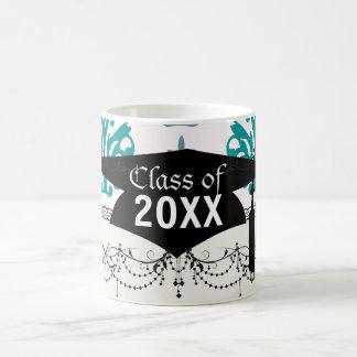 teal blue and slate blue damask graduation mugs