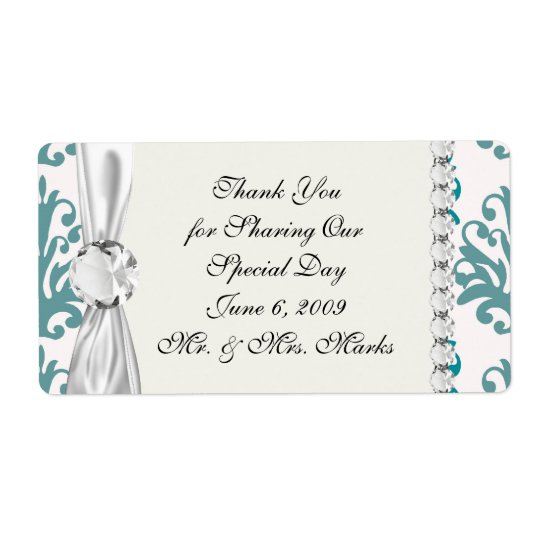 teal blue and slate blue damask on white