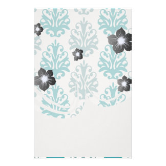 teal blue and slate blue damask on white stationery paper