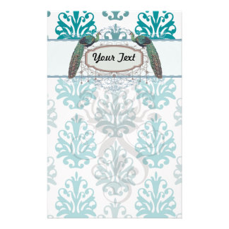 teal blue and slate blue damask peacocks stationery