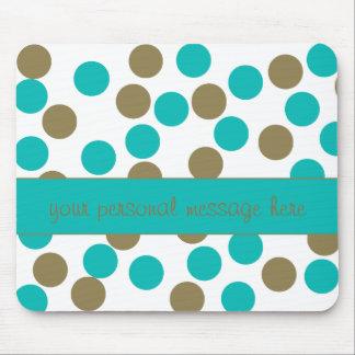Teal Blue and Tan Polka Dot Mouse Pad