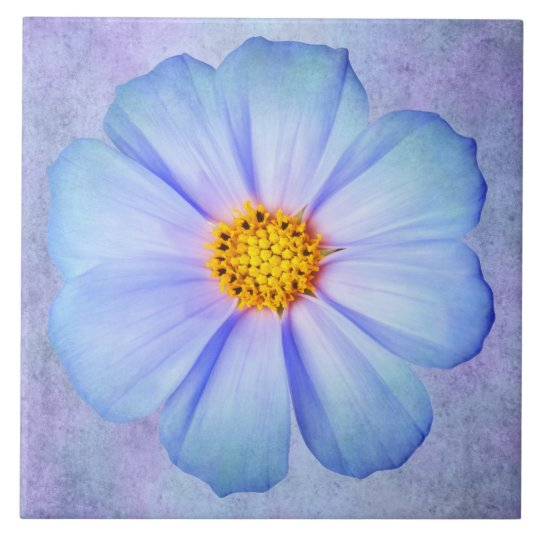 Teal Blue and Violet Daisy on Purple Watercolor Large Square Tile